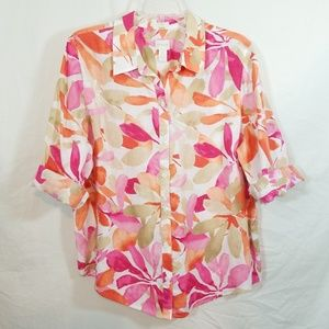 Chicos linen fall floral 3/4 slv button front top